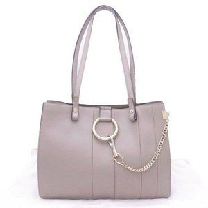 Chloe Faye Small Tote Shoulder Bag Gray Leather/Go